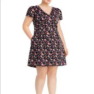 ADRIANNA PAPELL Metallic Floral Mini Dress